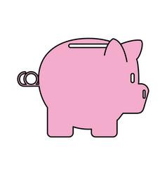 color contour cartoon side view pink piggy bank vector image