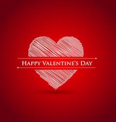 scribble heart Happy Valentines day vector image