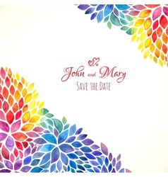 Watercolor painted rainbow colors invitation vector image
