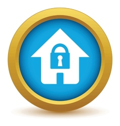 Gold lock house icon vector
