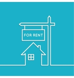 House with a sign for rent vector