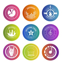 Colorful music labels vector