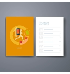 Modern mobile sport tracking flat icons cards vector