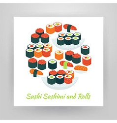 Flat style circle set of food sushi sashimi and vector