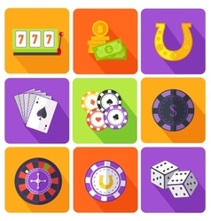 Set of Icons Gambling Games Flat Style vector image