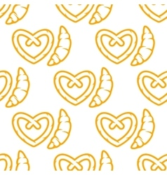 Croissant and pretzel seamless pattern vector