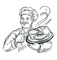 Chef baker and fresh bread vector