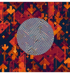 Arrows Chaotic Abstract Background with Circle vector image