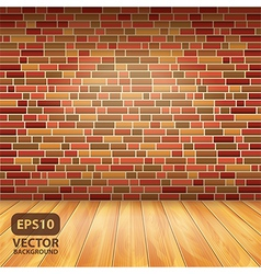 brick wall wood floor vector image vector image