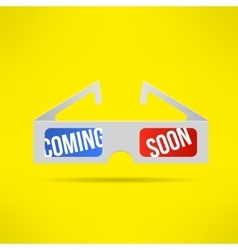 Cinema 3d glasses with coming soon text vector