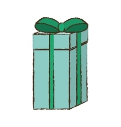 Color gift box ribbon wrapped sketch vector
