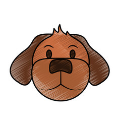 Color pencil cartoon front view face dog animal vector