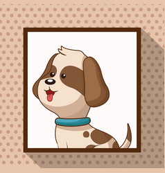 Cute doggy frame picture vector