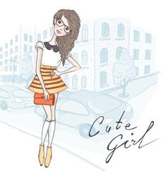 Cute hipster fashion girl vector