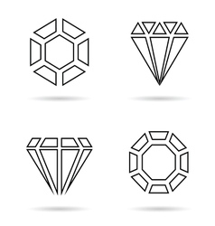 Diamond line icon jewellery set in black vector