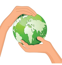 Encourage hands save planet vector image vector image