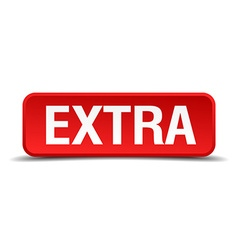 Extra red 3d square button isolated on white vector