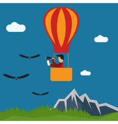 extreme selfie air balloon flat design vector image vector image
