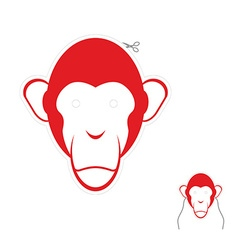 Festive red monkey mask Symbol of new year vector image vector image