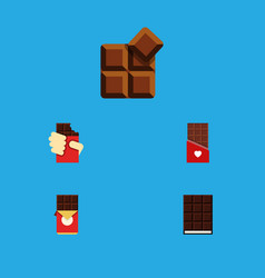 Flat icon bitter set of dessert chocolate bar vector