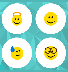 Flat icon emoji set of tears angel pleasant and vector