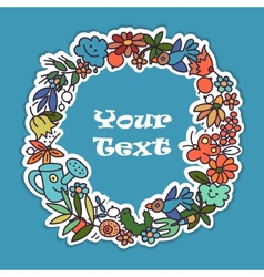 Garden doodls frame vector image vector image
