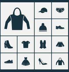 garment icons set collection of elegance stylish vector image