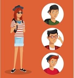 girl hipster teen boys icons vector image