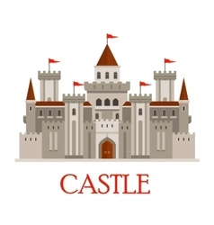 Gray medieval castle with turrets vector