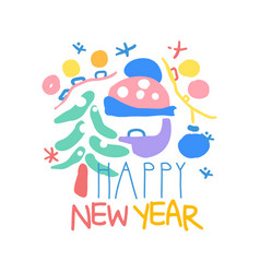 Happy new year logo template colorful hand drawn vector