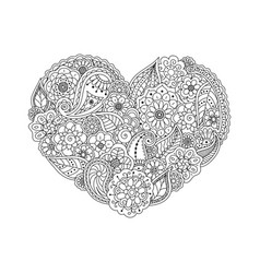 Heart of floral doodle elements coloring book page vector