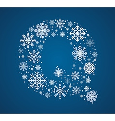 Letter q font frosty snowflakes vector