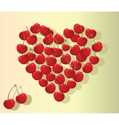 Love heart summer cherries vector image