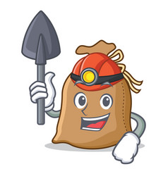 Miner sack mascot cartoon style vector