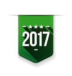 New year 2017 green ribbon vector