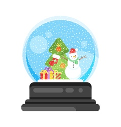 New year and xmas glass ball with snowman vector