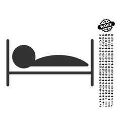 Patient bed icon with work bonus vector