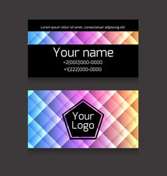 polygonal colorful double-sided business card vector image vector image