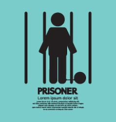 Prisoner in jail symbol vector