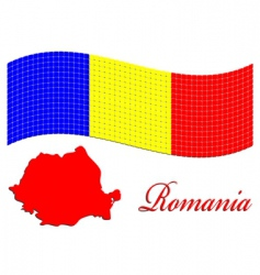 Romanian flag and map vector image vector image