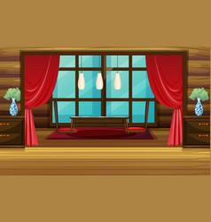 room design with red curtain and seats vector image vector image