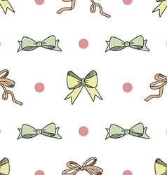 Seamless pattern background with handdrawn bows vector