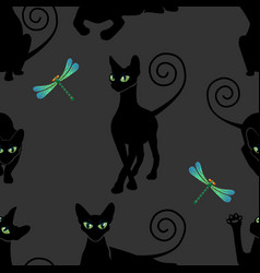 Seamless pattern with black cats vector