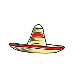 sombrero hat hand drawn icon vector image