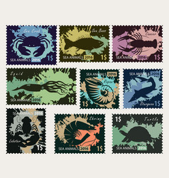 stamps on the theme of underwater sea animals vector image vector image