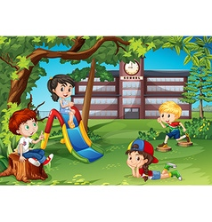 Students playing in the school playground vector image vector image