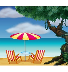 The stripe beach umbrella and the two chairs vector image