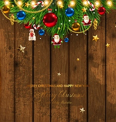 Wooden Christmas Design vector image vector image