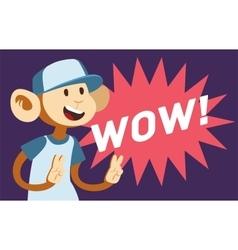 Wow text monkey classic pop art design vector image