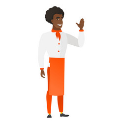 Young african-american chef cook waving his hand vector